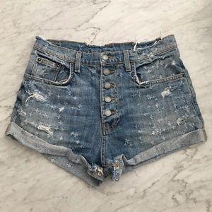 High waist distressed denim shorts 28
